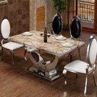 大理石餐桌 现代简约不锈钢餐台 小户型厅长方形1.3米饭桌椅组合
