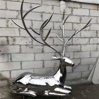 厂家定制梅花鹿不锈钢雕塑 金属动物雕塑 bxg160
