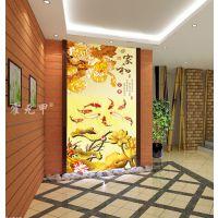 霍元甲瓷砖 现代简约高清客厅电视背景墙家和彩雕金色莲花牡丹