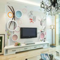 定制5d8d立体电视背景墙纸新中式客厅家和影视墙大型无缝壁画