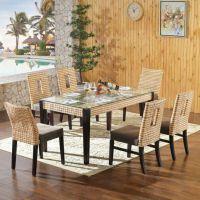 精藤家居 藤餐桌椅组合现代小户型餐桌长方形餐厅饭店藤桌椅组合家用