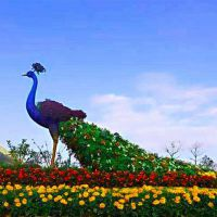 一群植物攻打僵尸造型 玉米投手胜利 欢迎语主题雕塑 仿真绿雕