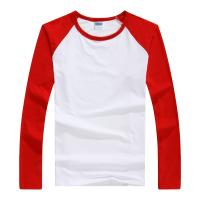 长袖圆领广告T恤长袖T恤男纯棉空白圆领文化衫广告衫定制印logo插肩撞边