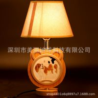 儿童台灯相框小熊实木亚麻布艺台灯双面定制照片图片带灯光源爆款