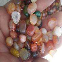 批发天然花玛瑙碎石 打磨抛光各种颜色玛瑙原石 鱼缸装饰素材