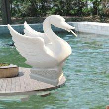 石雕喷水天鹅水鸭汉白玉水池景观装饰动物喷泉雕塑摆件曲阳万洋雕刻厂家定做