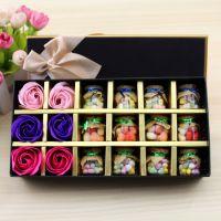 香皂花心形糖礼盒 长方形许愿瓶女生节圣诞新年礼物