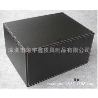 桌面文件柜 黑色PU皮革资料盒 三层抽屉式收纳盒 A4文件收纳 办公
