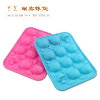 手工皂模 烘焙卡通动物冰格模 12连蘑菇熊头硅胶巧克力蛋糕模