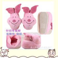 毛绒15CM 幼儿包脚拖鞋 粉红色毛绒猪公仔  儿童棉拖鞋 冬季保暖