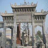 供应三门青石牌坊 景区寺庙古建筑石雕大门