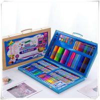 儿童创意180色水彩笔木盒绘画套装学生蜡笔彩铅颜料画画文具礼物