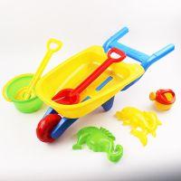 儿童沙滩小推车玩具7件套装带花洒海马海豚模型2066