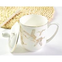唯奥陶瓷陶瓷厂家批发会议盖杯 骨瓷金边茶水杯 定制礼品公务员杯加logo