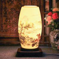 厂家销售 景德镇陶瓷落地灯 卧室床头灯仿古中式台灯 陶瓷灯批发