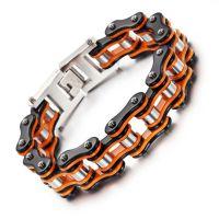速卖通亚马逊跨境货源 男款黑色橙色机车链 手环单车链首饰可代发