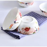 唐山亿美批发陶瓷碗盘碟 家用汤碗骨质瓷6寸面碗酒店礼品金钟碗定制加logo