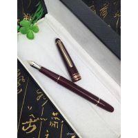 163暗红色树脂镀金钢笔 金夹墨水笔 商务礼品办公用品