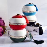浩新厂家批发陶瓷茶叶罐 员工茶具礼品套装开型定制
