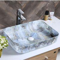 浴室用品2018方形创意蓝色彩金洗手盆陶瓷艺术盆