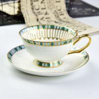 唐山达美瓷业创意骨质瓷咖啡杯 陶瓷金把杯碟 定制礼品咖啡具