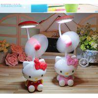 KT9806风扇台灯凯蒂猫咪造型可爱趣味儿童LED学习灯kitty女生