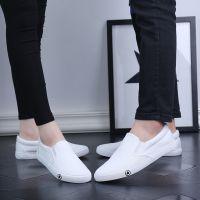 夏季轻便帆布鞋 女士小白鞋男女情侣款一脚蹬懒人鞋轻便硫化鞋男