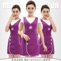 美容院围裙韩版时尚工作室罩衣女美容师工作服围裙印logo