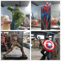 漫威电影人物雕塑 玻璃钢蜘蛛侠雷神雕塑 户外景观影视人物雕塑摆件