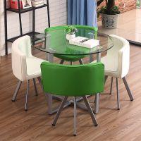 简约钢化玻璃餐桌小圆桌子休闲接待会客洽谈桌椅组合甜品店接待