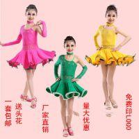 新款蕾丝拉丁舞服装儿童拉丁舞服烫钻拉丁舞裙少儿女童拉丁舞练功