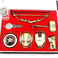 漫威复仇者联盟3七件套美国队长 钢铁侠绿巨人雷神项链匙扣套装