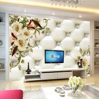 欧式软包3d无缝壁纸大型立体壁画简约花卉墙纸客厅沙发电视背景墙