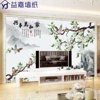 花鸟家和万事兴电视背景墙壁画客厅沙发3d立体无缝大型墙壁纸墙布