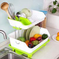 厨房沥水架 塑料折叠双层伸缩沥水槽韩国沥水篮可伸缩 厂家直销