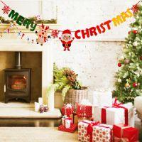 厂家直销定制圣诞节装饰品 毛毡无纺布拉旗挂旗 圣诞气氛布置品