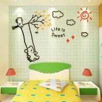 小熊荡秋千3D亚克力立体墙贴儿童房幼儿园玄关装饰背景墙客厅贴画