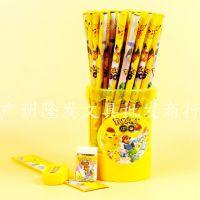 韩国文具用品 小学生皮卡丘HB铅笔 50支装桶装木质铅笔 送礼佳品