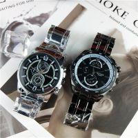 外贸爆款三眼六针钢带表 时尚日内瓦钢带手表 男士商务石英表现货