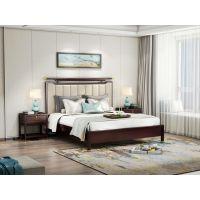 兔宝宝金丝檀木实木 优质头层真皮 1.8米床新中式风格双人床