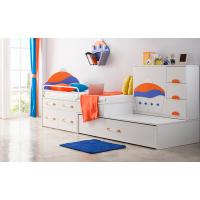厂家定制简约儿童房地台床飘窗床高低床带拖床地柜衣柜