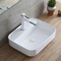 台上洗手盆单孔陶瓷方形简约时尚白色洗手盆