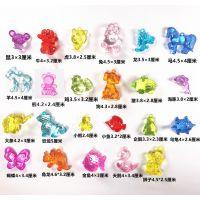 儿童彩色塑料透明亚克力串珠玩具男女孩DIY生肖动物宝石杂锦礼物