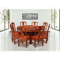 雕花古典餐桌花梨木圆台古典中式红木家具居舍红木榫卯工艺