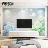 电视背景墙壁纸无缝大型壁画简约现代墙布客厅卧室3d无纺布 莲花