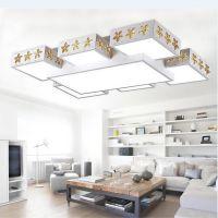 led吸顶灯 大气客厅灯 长方形 现代简约创意铁艺卧室餐厅灯具调光
