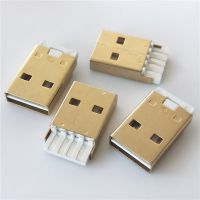 USB2.0 正反插公头 180度焊线式 双面插 不分正反随便插 4p 不短路白胶镀镍
