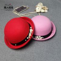 帽子女秋冬季圆顶小礼帽毡帽卷边圆帽英伦复古可爱韩版潮男爵士帽