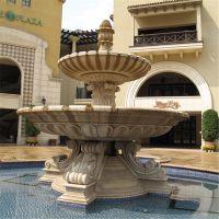 喷泉石头汉白玉雪花白大理石欧式风格喷泉水景摆设工艺品摆件