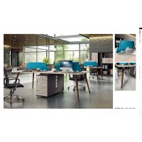 现代铁艺办公桌椅组合办公屏风会议办公桌简约实木办公会议桌